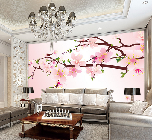 3D Peach Blossom Branches 77 Paper Wall Print Wall Decal Wall Deco Indoor Murals