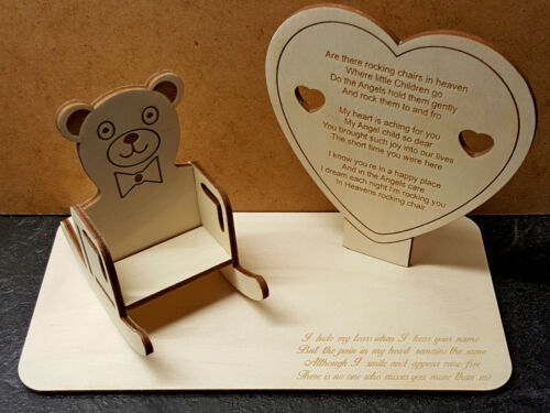 Personalisable Rocking Chair Teddy Bear Chair Child Baby Memorial Plaque