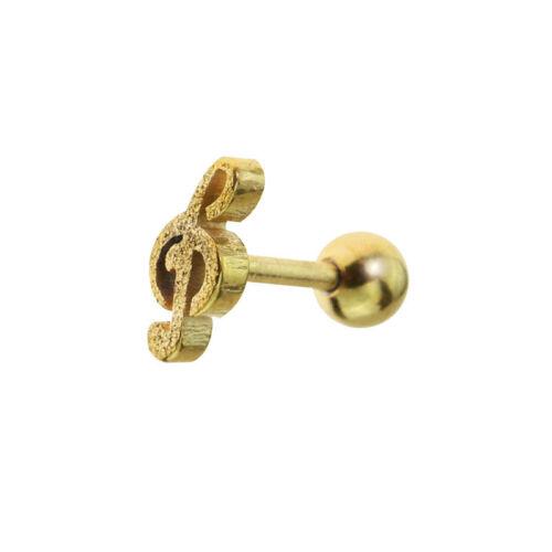 Tragus Piercing Helix Ohr Notenschlüssel Sandgestrahlt bling-bling gold silber