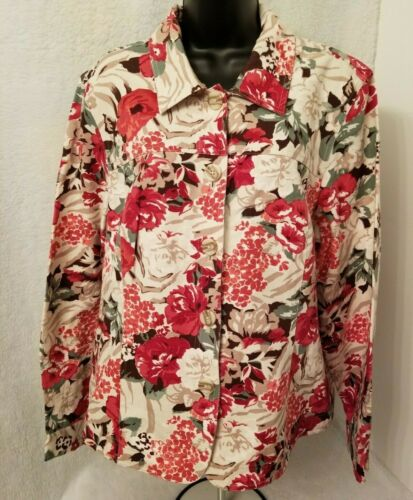 Appleseed's Womens Multi Color Floral Button Down