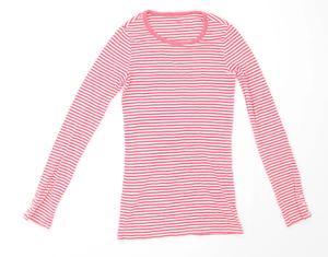 Gap-Womens-Size-XS-Striped-Cotton-Blend-Pink-T-Shirt-Regular