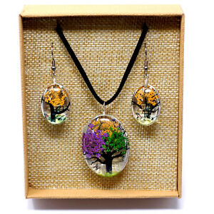 TREE OF LIFE REAL PRESSED FLOWERS Jewellery Pendant Necklace and Earring Set