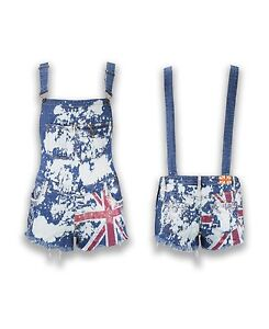 030aa817046 Image is loading NEW-Women-Ladies-Britain-FLAG-Denim-OVERALLS-Paint-