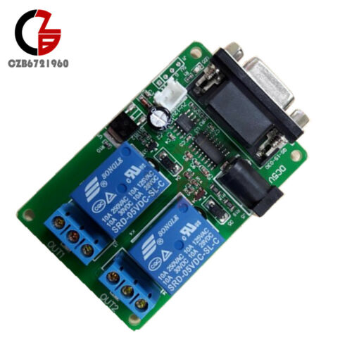 RS232 DB9 Serial Control Relay DC 5V 9-12V 2 Channel 2CH Switch Board for SCM PC