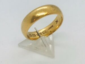 1922-98-YEAR-OLD-22ct-Yellow-Gold-5mm-Size-N-Wedding-Ring-6-60-Grams-Value-700