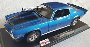Maisto-1-18-Diecast-Modelo-Coche-Edicion-Especial-Azul-1971-Chevrolet-Camaro