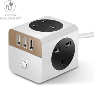 Mscien Cube Extension Lead Avec USB 4 magasins et ports 3USB 5V//2.4A Commutation UK