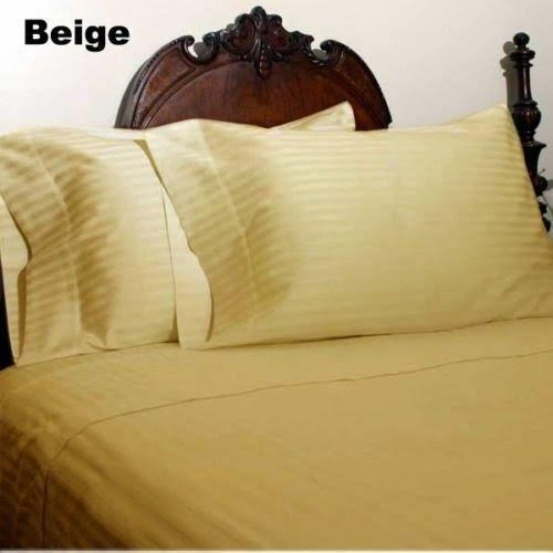 1000 Thread Count Egyptian Cotton Luxury Bedding All US Sizes Beige Stripe color