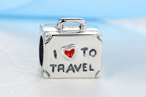 7515153c691a Details about Love Travel Suitcase Holiday Charm Bracelet Bead 925 Sterling  Silver Pendant