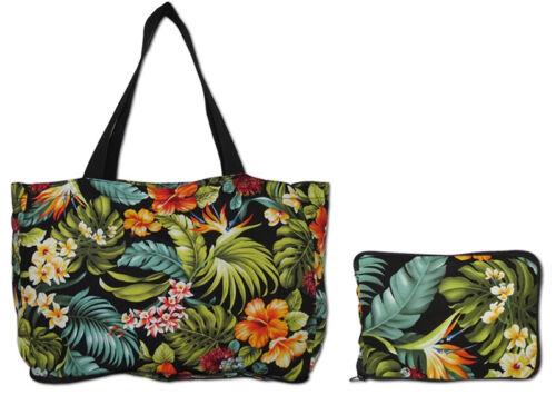 Hawaiian Cotton Black Floral Eco Shopping Foldable Tote Bag Tropical Hawaii New