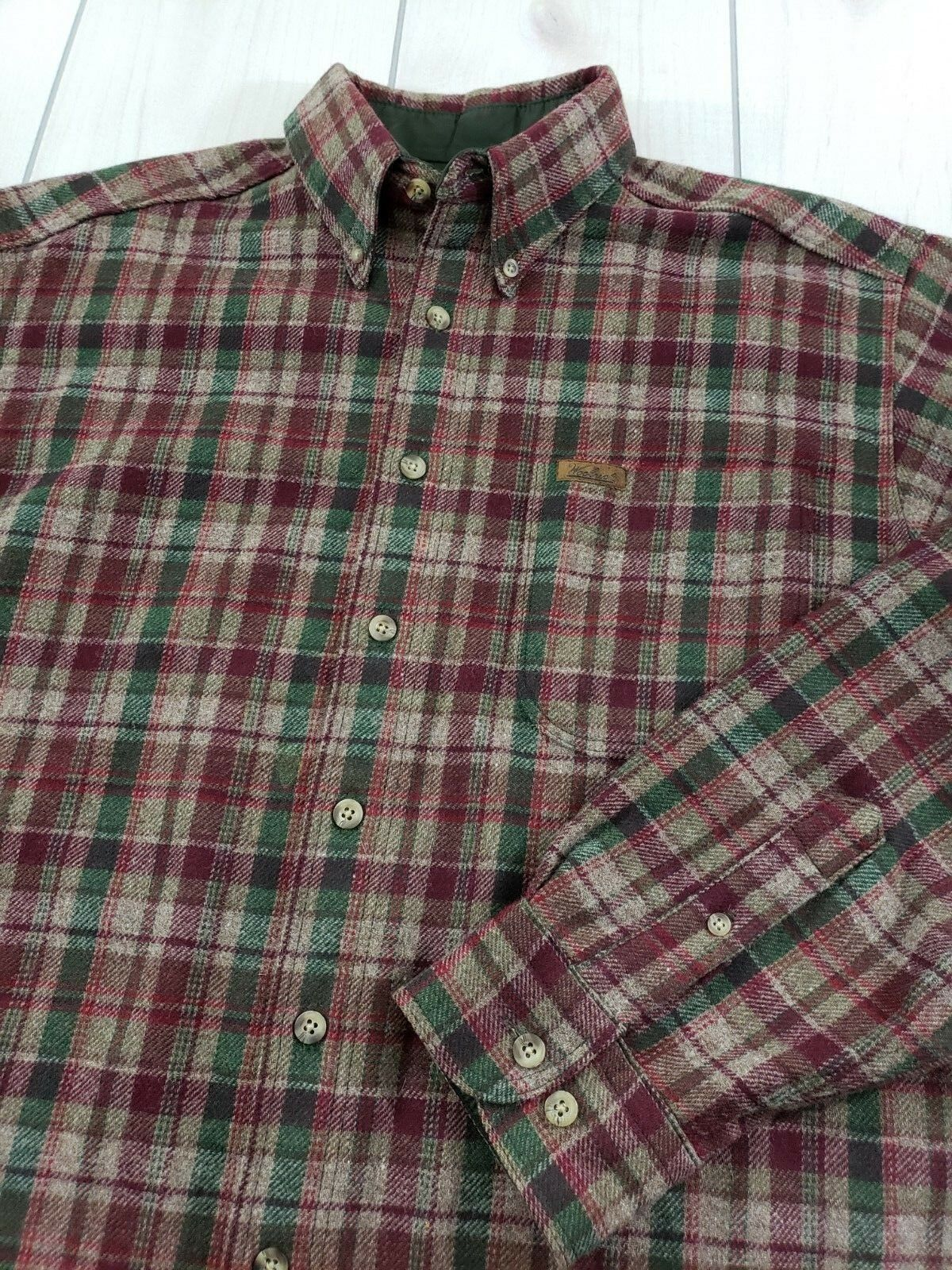 Vintage WOOLRICH Long Sleeve Button Front Plaid Wool Shirt Men's Large  W67
