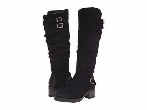 White Mountain Women's Block Tall Boot w Buckle Accents (1188,1189,1190) Black