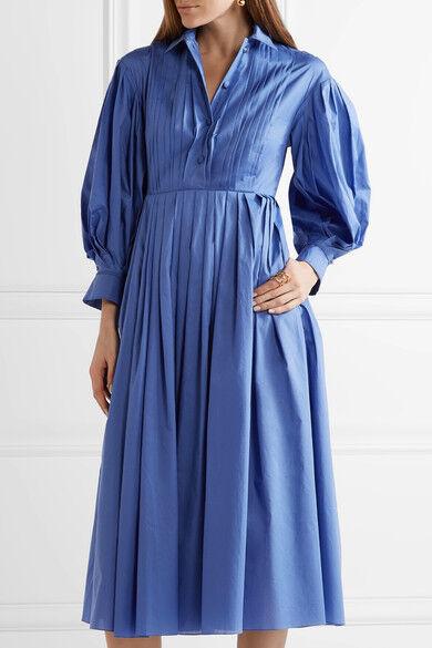 Vika gazinskaya pintucked plissettato Midi Dress Blu Taglia 40 () LF078 JJ 02