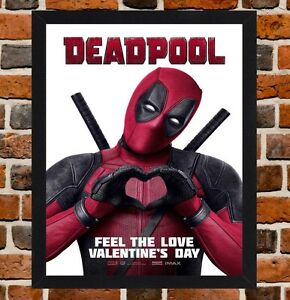 Framed Deadpool Movie Film Poster A4 A3 Size In Black White