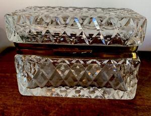 Antique French Cut Crystal Box Caddy