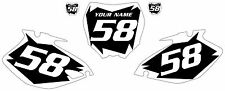 2006-2009 Yamaha YZF250 Custom Pre-Printed Black Backgrounds with White Shock