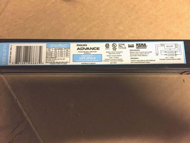 Phillips Advance IOPA//ICN-4P32-N T-8 T-12 120//277 volt 4 lamp ballast NEW
