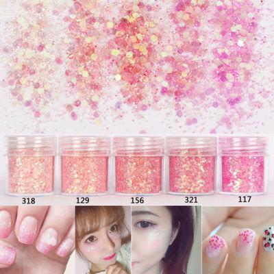 5 Pot/Set Pink Loose GLITTER Eyeshadow Face Body Hair Nails Gems Sequins Powder