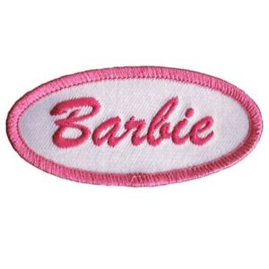 Barbie-Patch-Pink-White-3-034-Iron-On