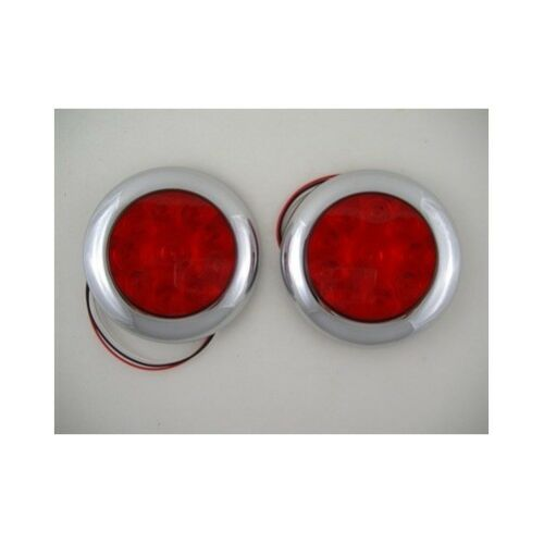 "Red 10 LED 4/"" Round Surface Mount Stop Turn Brake Tail Lights Chrome Bezel"