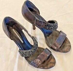 Vera Wang Lavender black & silver open toe snakeskin heels, size 5.5, Nice Shape