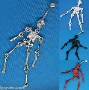 Gothic Human Skeleton Belly Navel Bar Ring 14g 16mm Thick  Choose Colour - <span itemprop=availableAtOrFrom>London, London, United Kingdom</span> - Returns accepted Most purchases from business sellers are protected by the Consumer Contract Regulations 2013 which give you the right to cancel the purchase within 14 days after t - London, London, United Kingdom