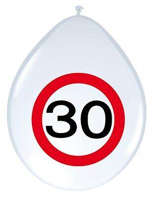 8 Luftballons Verkehrsschild 30 Geburtstag Deko Tischdeko Party Schild Jubiläum