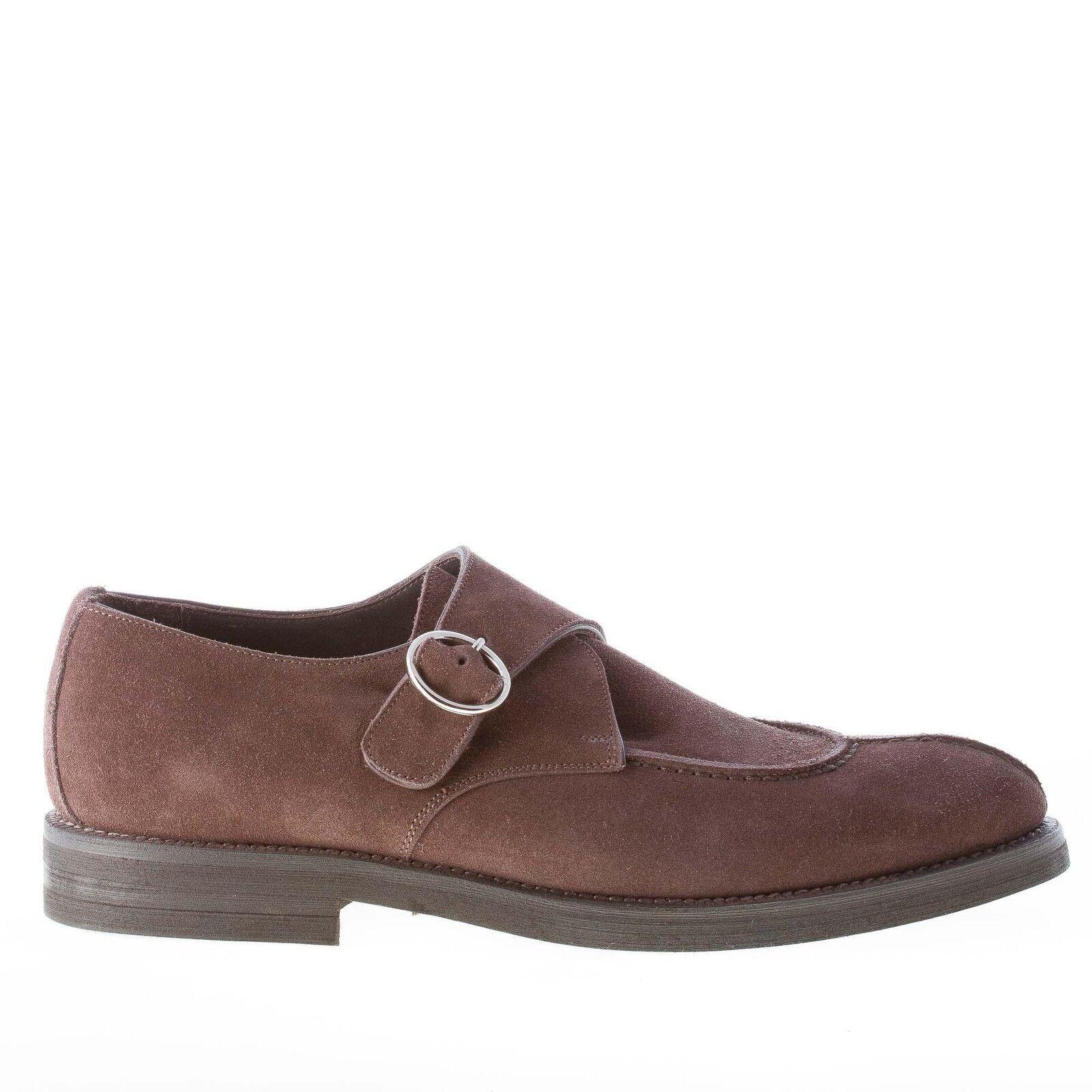 MIGLIORE men shoes made in  Dark brown suede apron toe monk strap