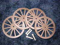 Wagon & Cannon Wheels - 4 Inch Diameter Alder Toy Wood - Diorama Civil War Small