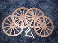 Wagon & Cannon Wheels - 4 Inch Diameter Alder Toy Wood - Diorama Civil War Small