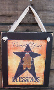 Count-Your-Blessings-Hanging-Wall-Sign-Plaque-Primitive-Rustic-Lodge-Cabin-Decor
