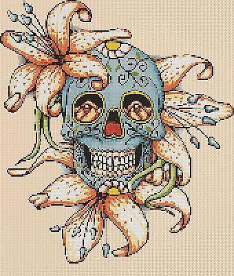 364  Cross stitch chart FlowerPower37-uk Sugar Skulls On Your Wedding Day no
