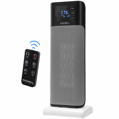 Electric Ceramic Tower Heater 1500W Portable Oscillating Small Space Heating