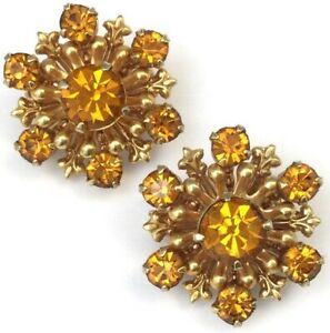 VINTAGE-SCATTER-PIN-PAIR-SET-AMBER-COLORED-RHINESTONE-COSTUME-JEWELRY