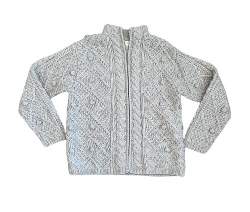 Hand Knit Gray Wool Crochet Chunky Knit Pom Pom F… - image 1
