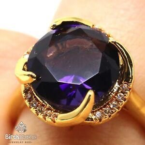Large-5CT-Round-Purple-Amethyst-Ring-Women-Birthday-Jewelry-Yellow-Gold-Plated