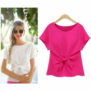 New-Fashion-Womens-Ladies-Short-Sleeve-Casual-Chiffon-Shirt-Tops-Blouse-T-Shirt