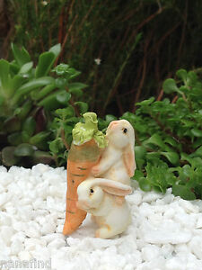 Miniature Dollhouse FAIRY GARDEN ~ Rabbit Bunny Rabbits Carrying a Carrot ~ NEW