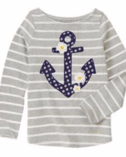 Gymboree Flower Shower 8 10 Gray Anchor Shirt Striped Daisy Spring 15