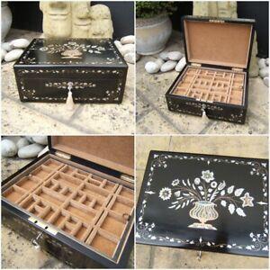 ANTIQUE JEWELLERY BOX -  RARE EARLY 19c INLAID EBONY WONDERFUL INTERIOR
