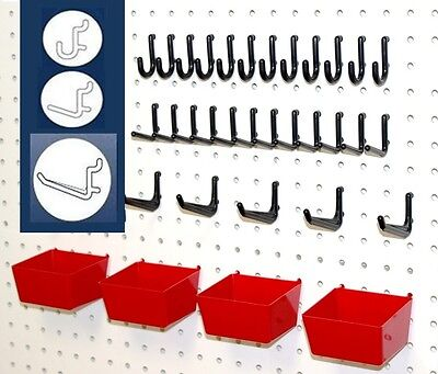 WallPeg Red Storage Bins & Peg Hooks for Tool Board - Workbench Pegboard 43-RB