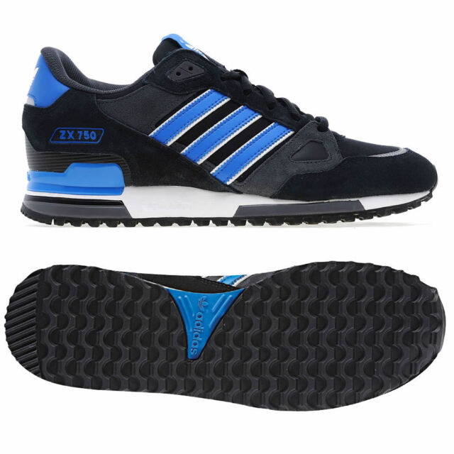 new style 049f4 219a8 adidas ORIGINALS MENS ZX 750 UK 7 8 9 10 11 12 BLACK BLUE TRAINER SHOES