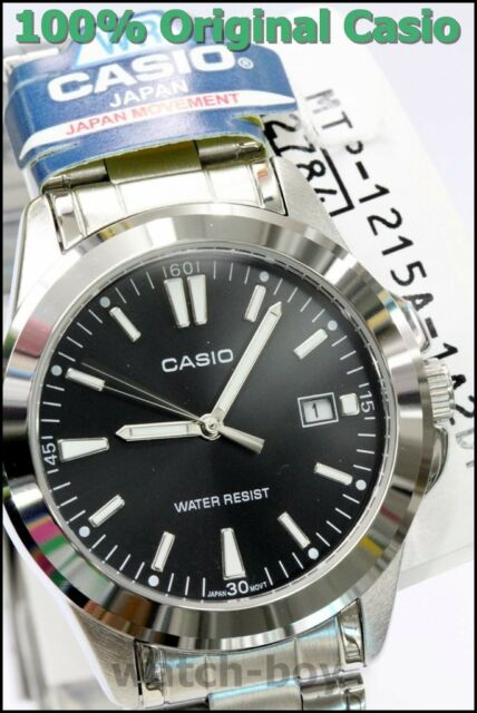 MTP-1215A-1A2 Black Casio Men's Watch Stainless Steel Analog Water Resistant New