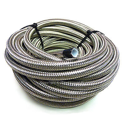 "AN -4 AN4 3/16"" 5MM Stainless Steel Braided PTFE Fuel Hose Pipe 1 Metre"