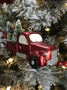 Details About Red Truck Christmas Tree Ornament Bottle Brush Trees Xmas Sign Decoration