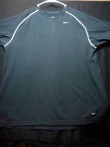 Nike-Dri-Fit-Large-Crewneck-Short-Sleeve-Black-Pro-Men-039-s-Shirt