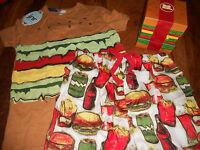 Peter Alexander Jnr Boys Short Sleeve Burger Set Pyjamas Size 8 10 & 12