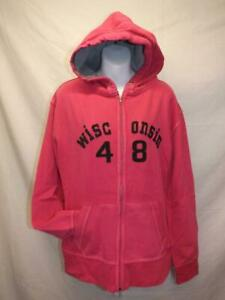 Neuf-Wisconsin-Badgers-Femmes-Taille-M-Rose-Fermeture-Eclair-a-Capuche-Veste