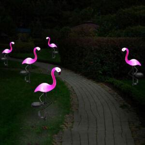 Energia-Solar-Rosa-Flamingo-cesped-dector-Jardin-Estaca-Paisaje-Lampara-Luz-al-Aire-Libre