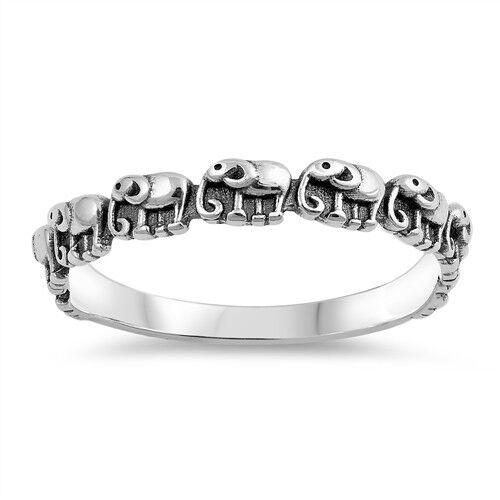L N P R STERLING SILVER 925 Boho Elephant Trail Dress Ring Band Size 6 7 8 9